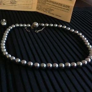 Majorica gray pearl necklace